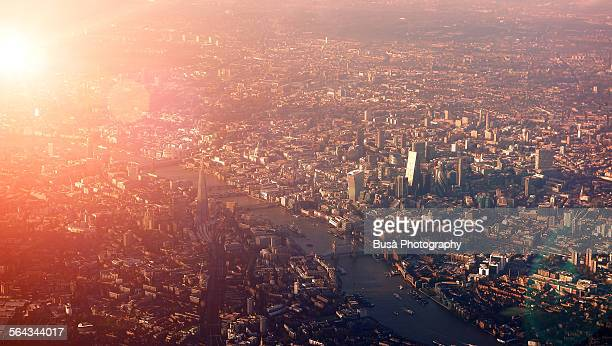 Spectacular aerial view of London from aircraft
