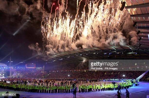 A spectacular firework display caps off the closing ceremony of the 2002 Commonwealth Games at the City of Manchester Stadium Manchester Sunday