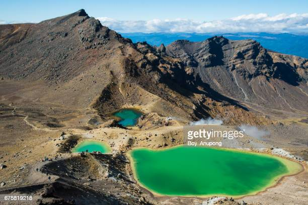 Spectacular landscape of Emerald lake in Tongariro Alpine Crossing, New Zealand.