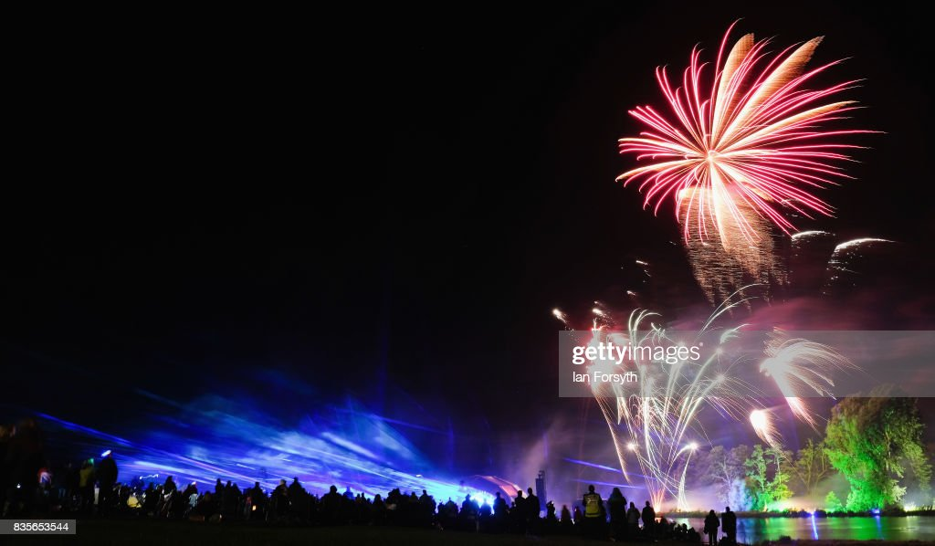 A spectacular laser and firework finale brings to an end the annual Castle Howard Proms Spectacular concert held on the grounds of the Castle Howard estate on August 19, 2017 in York, England. The outdoor picnic concert celebrated the best of British with a rousing medley of traditional orchestral anthems from the London Gala Orchestra conducted by Stephen Ellery and special guest performances from Brit award winners Blake and soprano Joanne Forest.