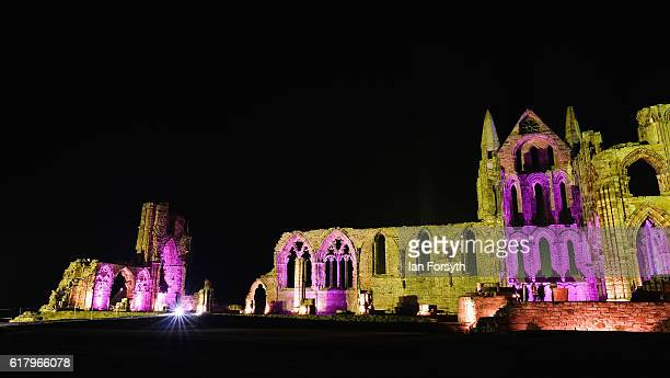 A spectacular light display illuminates the historic Whitby Abbey on October 25 2016 in Whitby United Kingdom The famous Benedictine abbey will be...