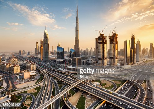 Spectacular Skyline Of Dubai Uae Futuristic Modern Architecture Of A