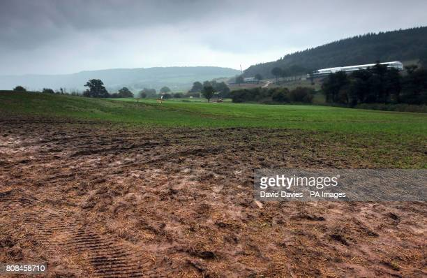 Spectator areas along the fourth fairway of the Twenty Ten Course at Celtic Manor used for the 2010 Ryder Cup at Celtic Manor Golf Course Newport...