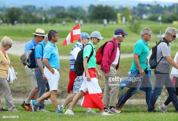 A spectator dons the Autria flag during day three of the Lyoness Open at Diamond Country Club on June 10 2017 in Atzenbrugg Austria
