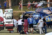 A spectator is evacuated in a helicopter after Chinese driver Meiling Guo ran into the crowd in her Mini during the 11km prologue of the 2016 Dakar...