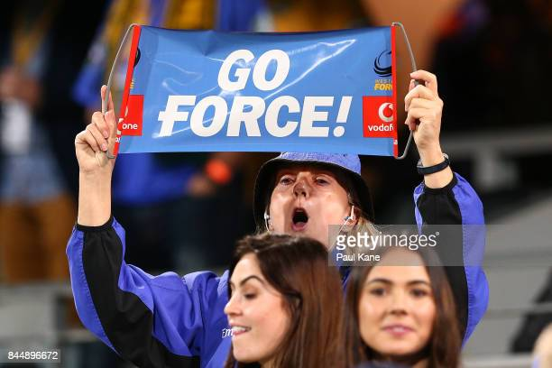 A spectator shows her support for the Western Force during The Rugby Championship match between the Australian Wallabies and the South Africa...