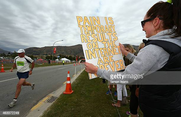 A spectator shows support during Challenge Wanaka on January 18 2014 in Wanaka New Zealand