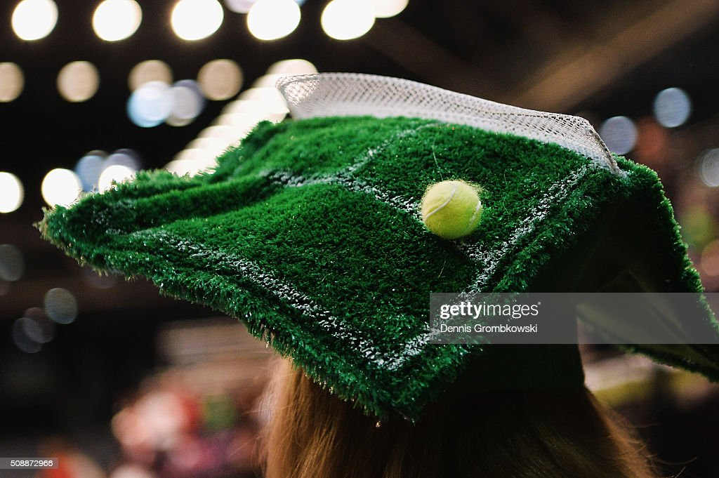 A spectator wears a tennis court hat on Day 2 of the 2016 FedCup World Group Round 1 match between Germany and Switzerland at Messe Leipzig on February 7, 2016 in Leipzig, Germany.