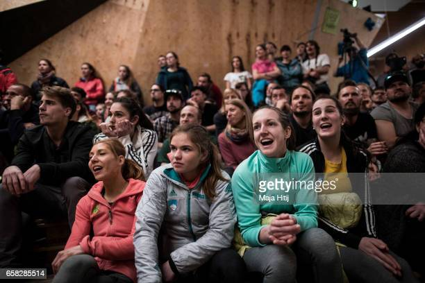 Spectators and Athletes finals of bouldering event Studio Bloc Masters 2017 on March 26 2017 in Pfungstadt Germany