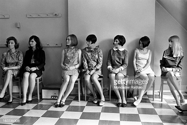 Spectators and models attending a fashion show of the British stylist Mary Quant London 1960s