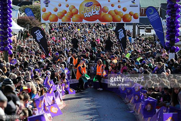 Spectators and officials at the Jaffa candy race at Baldwin Street on July 17 2015 in Dunedin New Zealand The residential street is the steepest in...