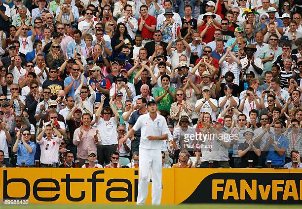 Spectators applaud Stuart Broad of England during day two of the npower 5th Ashes Test Match between England and Australia at The Brit Oval on August...