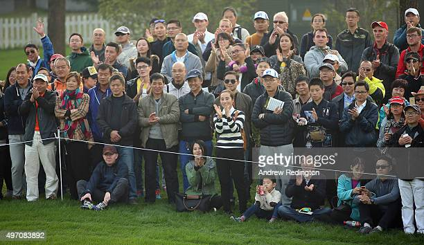 Spectators are pictured during the third round of the BMW Masters at Lake Malaren Golf Club on November 14 2015 in Shanghai China