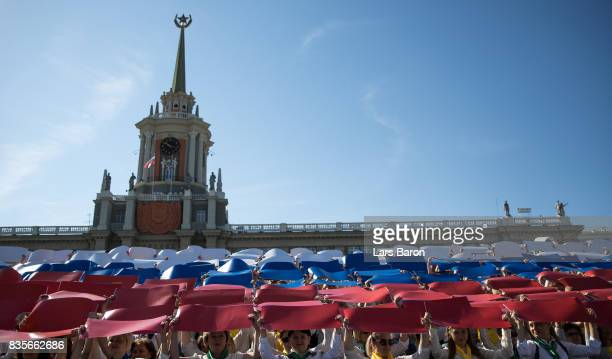 Spectators are seen during the city day opening ceremony on August 19 2017 in Ekaterinburg Russia