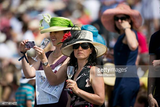 Spectators are seen during the 'Prix de Diane Longines 2015' at Hippodrome de Chantilly on June 14 2015 in Chantilly France