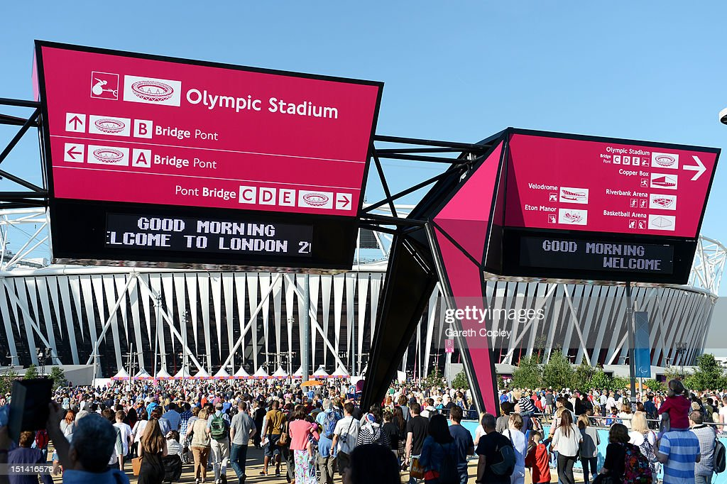 Spectators arrive at the Olympic Park prior to the day's events on day 9 of the London 2012 Paralympic Games at on September 7, 2012 in London, England.
