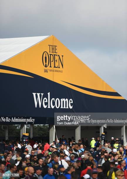 Spectators arrive for the third round of the 146th Open Championship at Royal Birkdale on July 22 2017 in Southport England