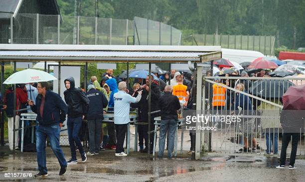 Spectators arriving to the stadium prior to the Danish Alka Superliga match between FC Helsingor and OB Odense at Helsingor Stadion on July 24 2017...