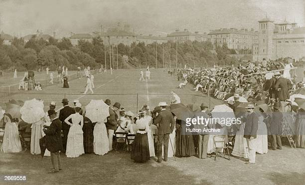 Spectators at a lawn tennis tournament in Eastbourne