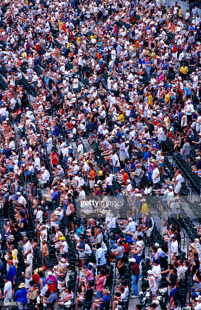 Spectators at Oriole Park at Camden Yards baseball stadium, Baltimore, United States of America : Stock Photo