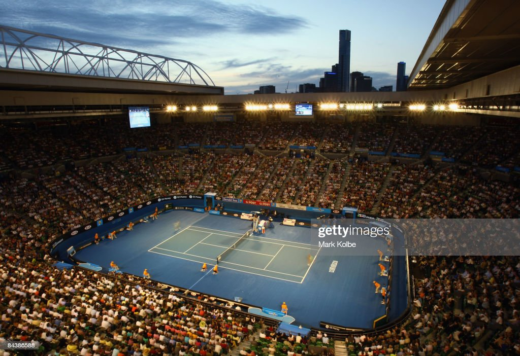 Spectators at Rod Laver arena watch the match between Jelena Dokic of Australia and Anna Chakvetadze of Russia during day three of the 2009 Australian Open at Melbourne Park on January 21, 2009 in Melbourne, Australia.
