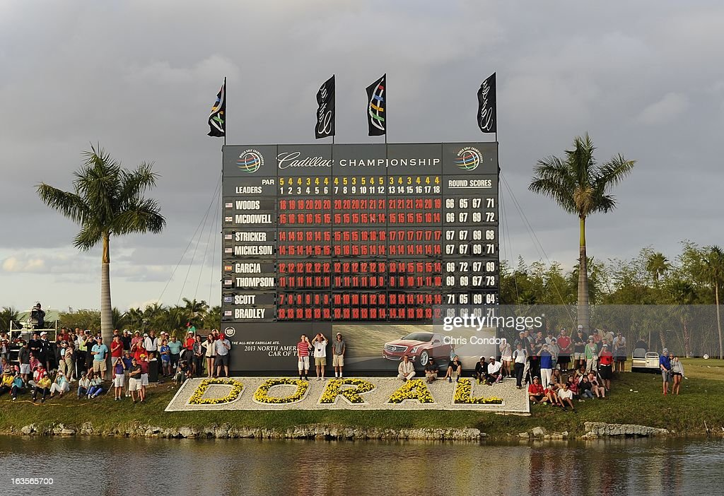 Spectators at the 18th hole during the final round of the World Golf Championships-Cadillac Championship at TPC Blue Monster at Doral on March 10, 2013 in Doral, Florida.