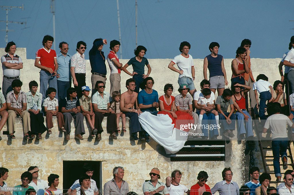 Spectators at the European Championships Qualifying Round Group 7 match between Malta and Wales at The Stadium Gzira Malta 2nd June 1979 Wales won...