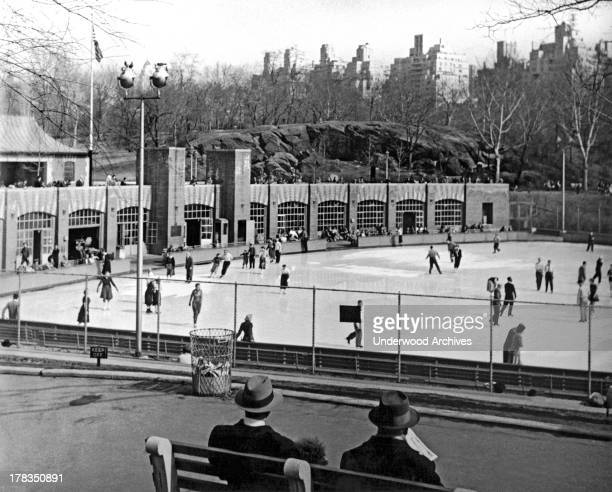 Spectators at the ice skating rink in Central Park in New York City New York New York 1955