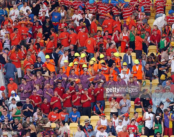 Spectators at the IRB Sevens Rugby at Westpac Stadium Wellington New Zealand Friday 06 Feb 2004