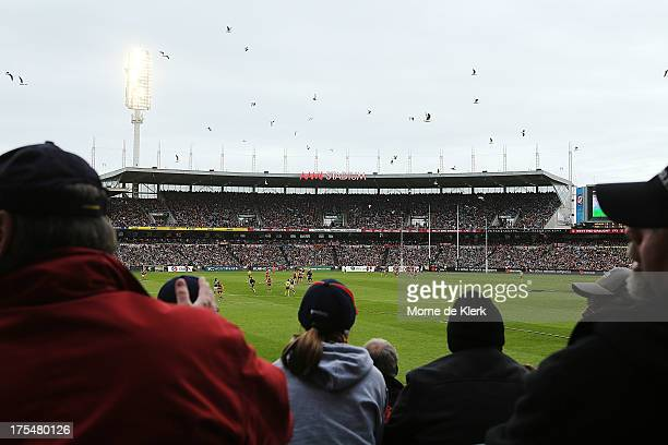 Spectators at the sold out game enjoy the last ever Showdown at this ground during the round 19 AFL match between the Adelaide Crows and Port...