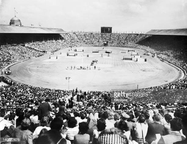 Spectators at Wembley Stadium watching the Prix des Nations equestrian event shortly before the closing ceremony of the London Olympics 14th August...
