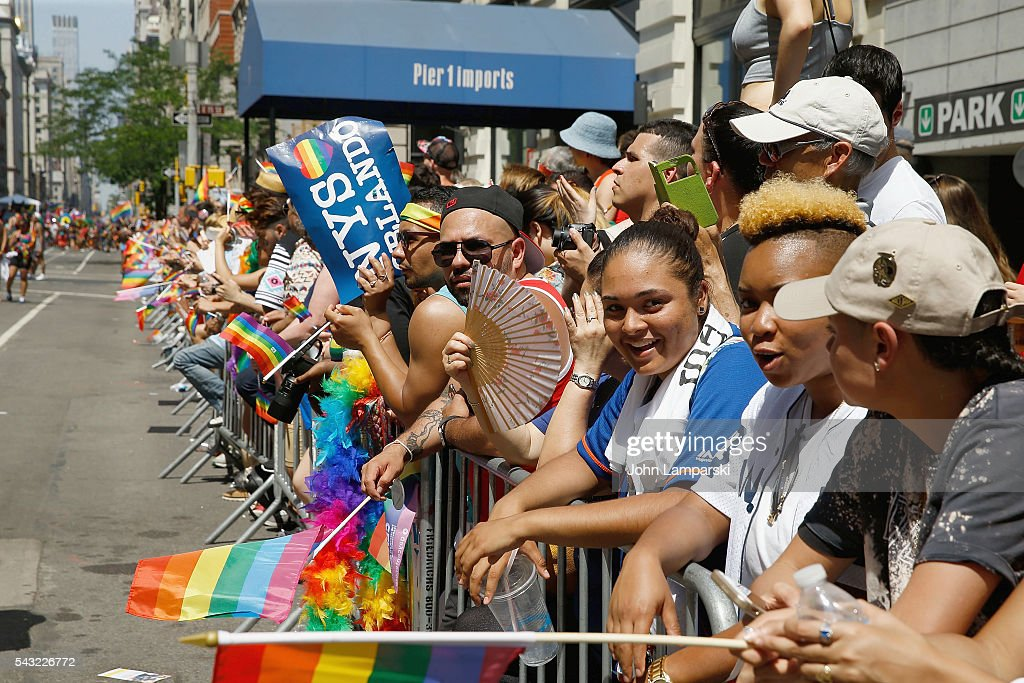 Spectators attend New York City Pride 2016 March at Pier 26 on June 26, 2016 in New York City.