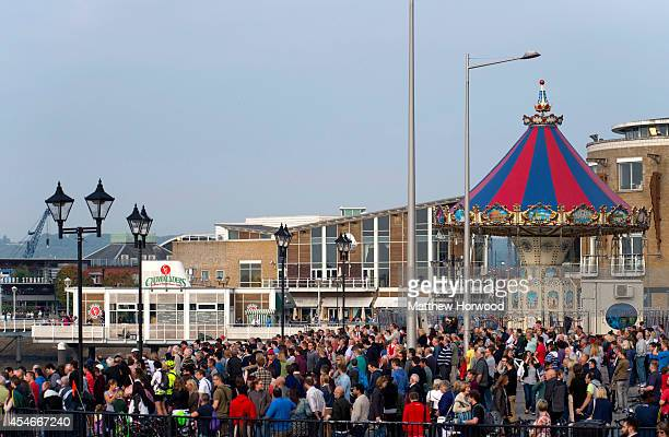 Spectators await a military flypast at Cardiff Bay on September 5 2014 in Cardiff Wales Today is the final day of the two day NATO summit which has...