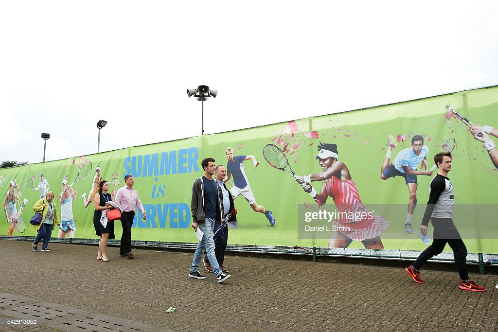 Spectators begin to arrive at Nottingham Tennis Centre for day six of the ATP Aegon Open Nottingham at Nottingham Tennis Centre on June 25, 2016 in Nottingham, England.