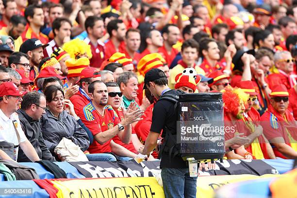 Spectators buy beer during the match during GroupD preliminary round between Spain and Czech Republic at Stadium Municipal on June 13 2016 in...