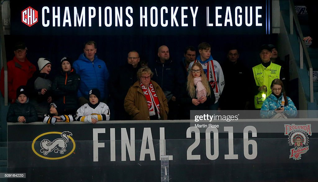 Spectators cheer during the Champions Hockey League final game between Karpat Oulu and Frolunda Gothenburg at Oulun Energia-Areena on February 9, 2016 in Oulu, Finland.