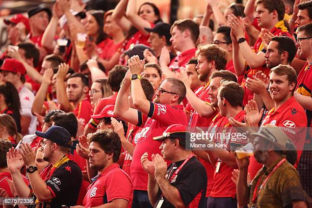 Spectators clap at the 77th minute during the round nine ALeague match between Adelaide United and the Wellington Phoenix at Coopers Stadium on...