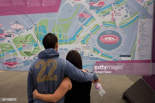 Spectators consult a detailed map of the Olympic Park during the London 2012 Olympics This land was transformed to become a 25 Sq Km sporting complex...