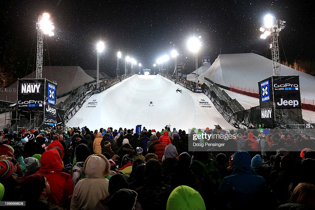 Spectators crowd the bottom of the halfpipe during the Men's Snowboard Superpipe Elimination at Winter X Games Aspen 2013 at Buttermilk Mountain on January 24, 2013 in Aspen, Colorado.