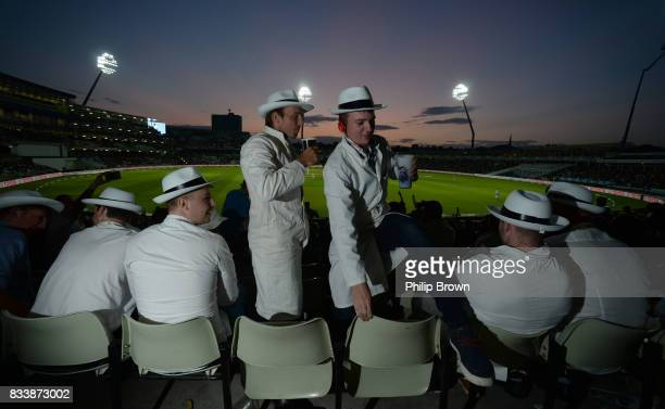 Spectators dressed as umpires in the Hollies stand during the first day of the 1st Investec Test match between England and the West Indies at...