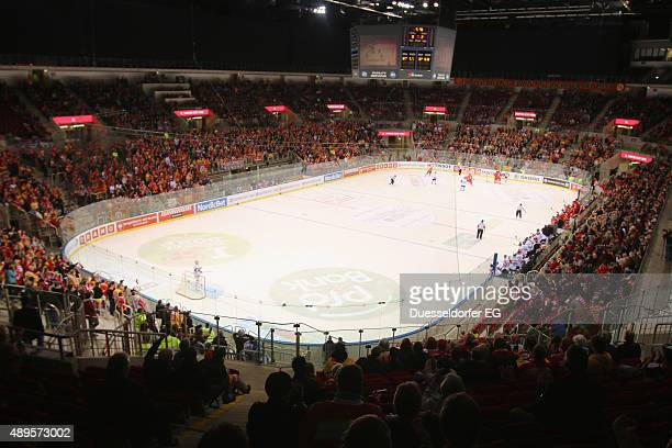 Spectators during the Champions Hockey League round of thirtytwo game between Duesseldorfer EG and Karpat Oulu at ISS Dome on September 22 2015 in...