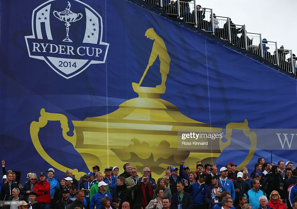 Spectators enjoy the action during the Singles Matches of the 2014 Ryder Cup on the PGA Centenary course at the Gleneagles Hotel on September 28 2014...