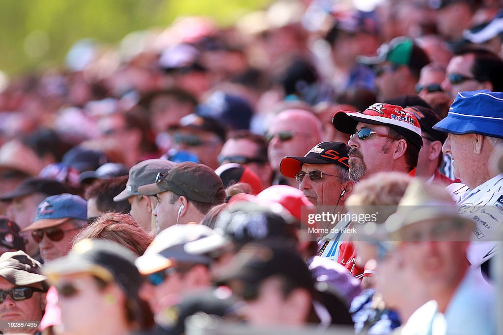 Spectators enjoy the atmosphere during qualifying for the Clipsal 500, which is round one of the V8 Supercar Championship Series, at the Adelaide Street Circuit on March 1, 2013 in Adelaide, Australia.