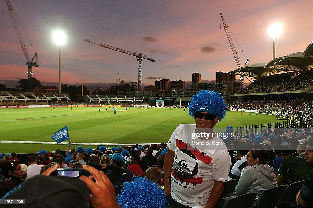 Spectators enjoy the atmosphere during the Big Bash League match between the Adelaide Strikers and the Melbourne Stars at Adelaide Oval on December 27, 2012 in Adelaide, Australia.