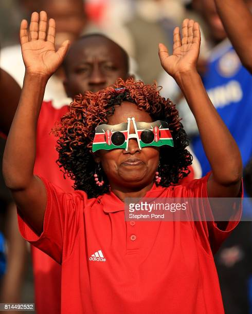 Spectators enjoy the atmosphere on day three of the IAAF U18 World Championships at the Kasarani Stadium on July 14 2017 in Nairobi Kenya
