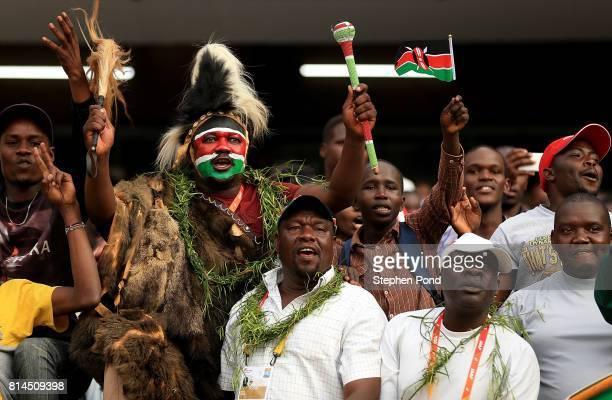 Spectators enjoy the atmosphere on day three of the IAAF U18 World Championships at the Kasarani Stadium on July 14 2017 in Nairobi Kenya