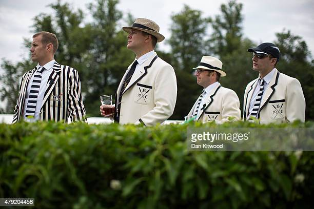 Spectators gather along the river bank to watch racing on day two of the Henley Royal Regatta on July 2 2015 in HenleyonThames England This year is...