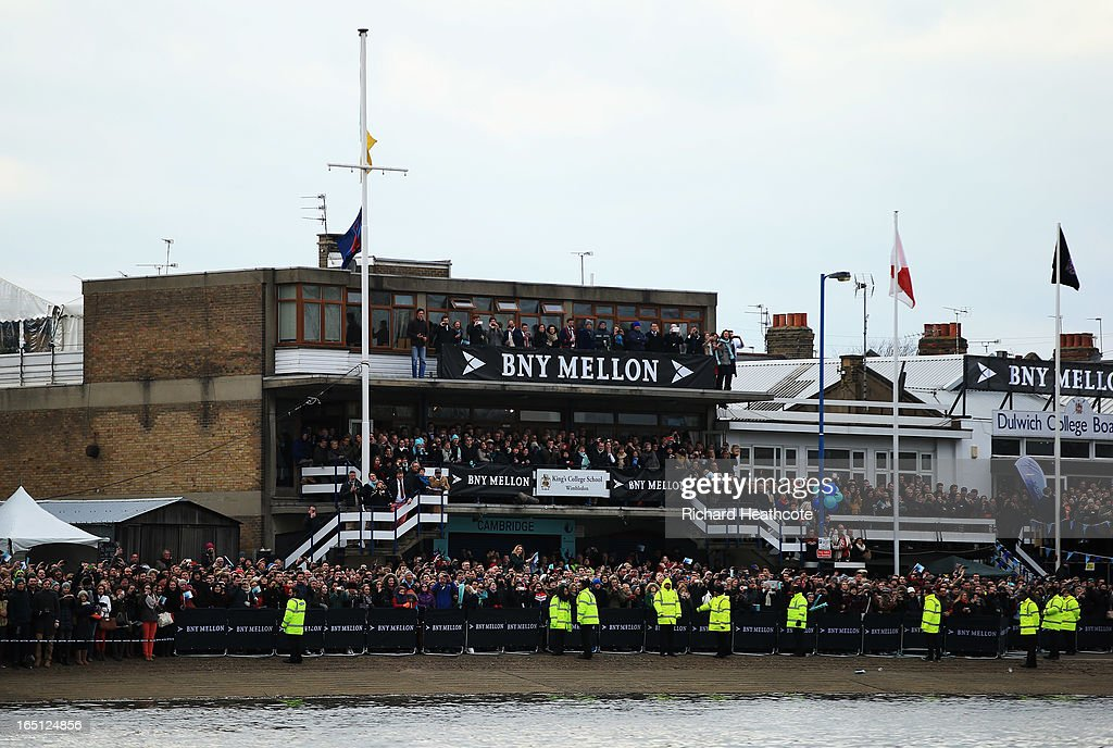 Spectators gather at the start of the BNY Mellon 159th Oxford versus Cambridge University Boat Race on The River Thames on March 31, 2013 in London, England.