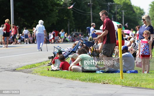 4th of july gathering uncle sam tall man marching july 4th independence day parade stock