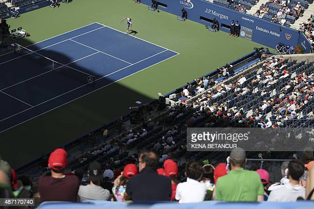 Spectators in Arthur Ashe stadium watch a match between Jeremy Chardy of France and Marin Cilic of Croatia during their 2015 US Open Men's Singles...